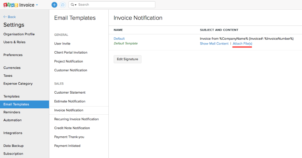 Mangoho Add Multiple Attachments In Zoho Books Or Invoice Email