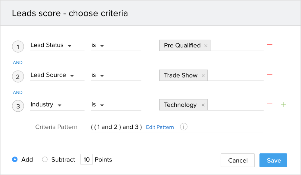 Rate leads with Zoho CRM lead scoring functionality