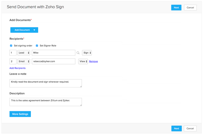 e-Sign Documents with Zoho Sign with integration to Zoho CRM